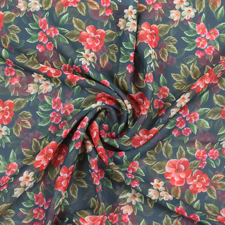 Green Red Flower Georgette Silk Fabric-15105